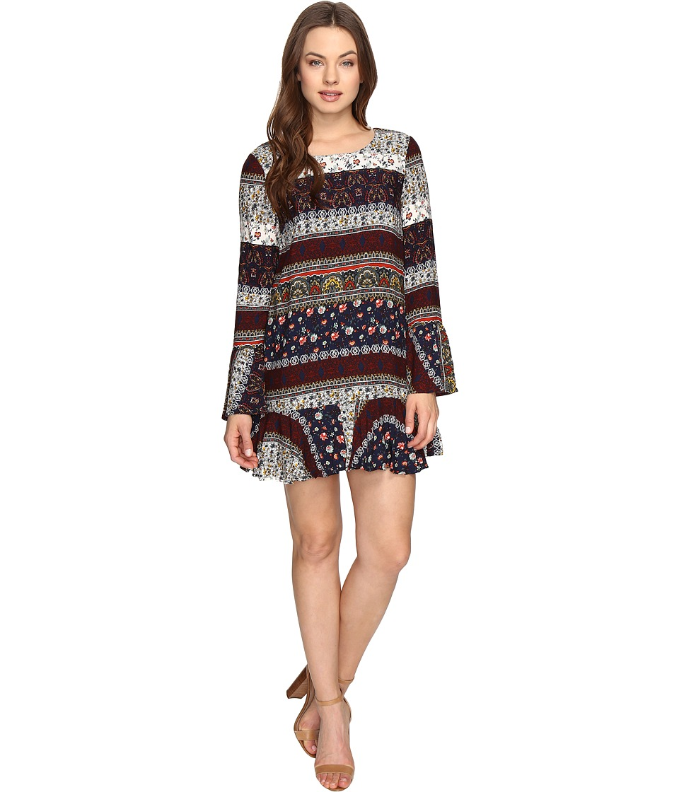 Brigitte Bailey - Naida Bell Sleeve Printed Dress (Multi) Women's Dress
