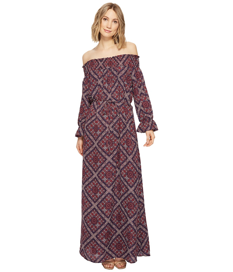 Brigitte Bailey - Ellinor Off the Shoulder Printed Maxi Dress (Navy) Women's Dress