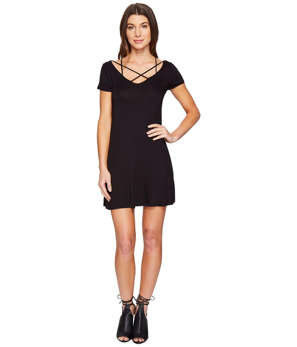 Culture Phit Linnea Short Sleeve Strappy Dress (Black) Women
