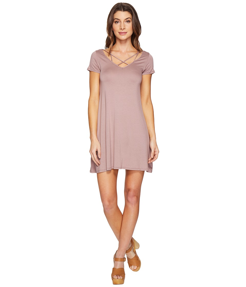 Culture Phit - Linnea Short Sleeve Strappy Dress (Mauve) Women's Dress