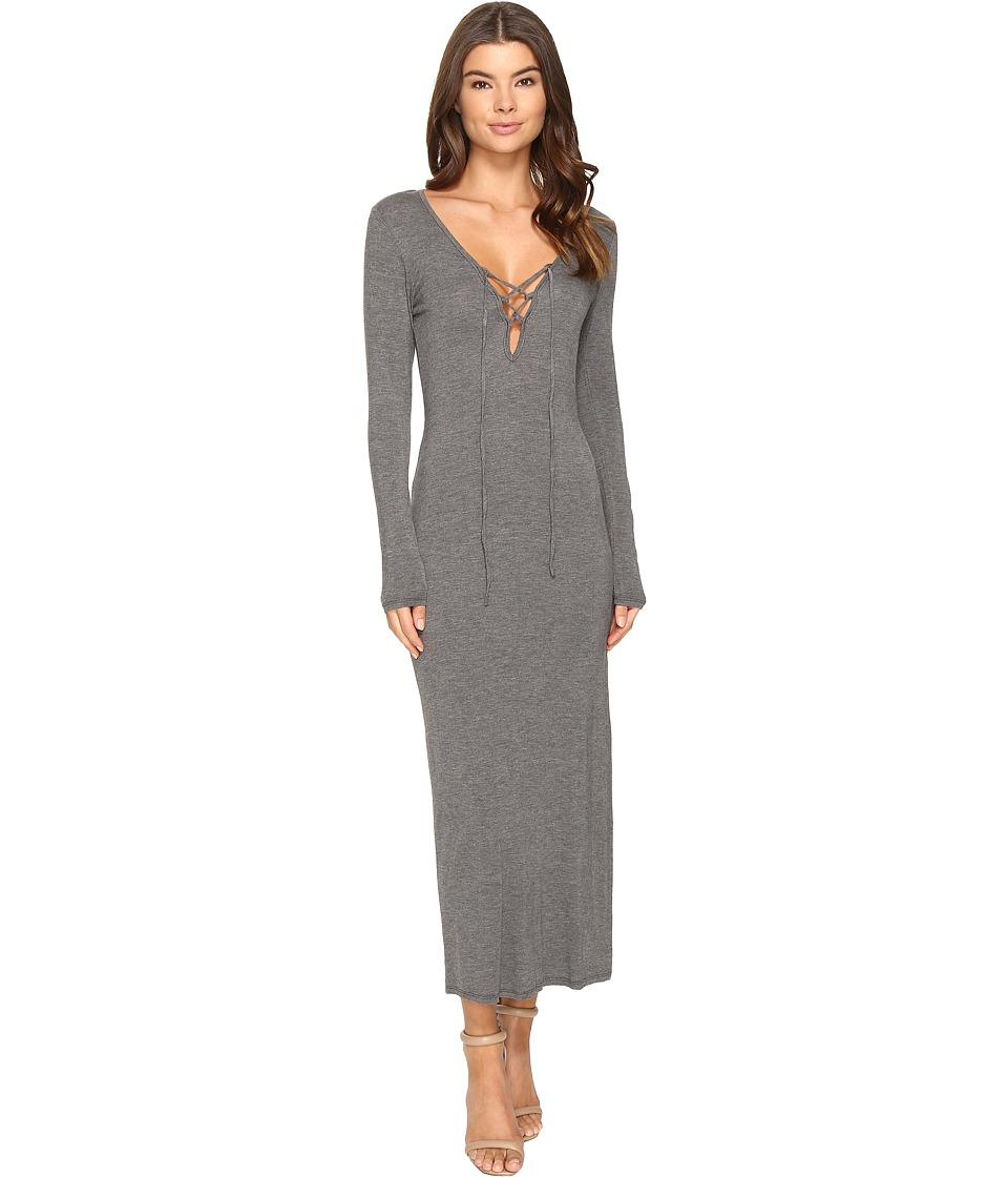 Culture Phit Annouk Tie-Front Long Sleeve Dress (Heather Grey) Women