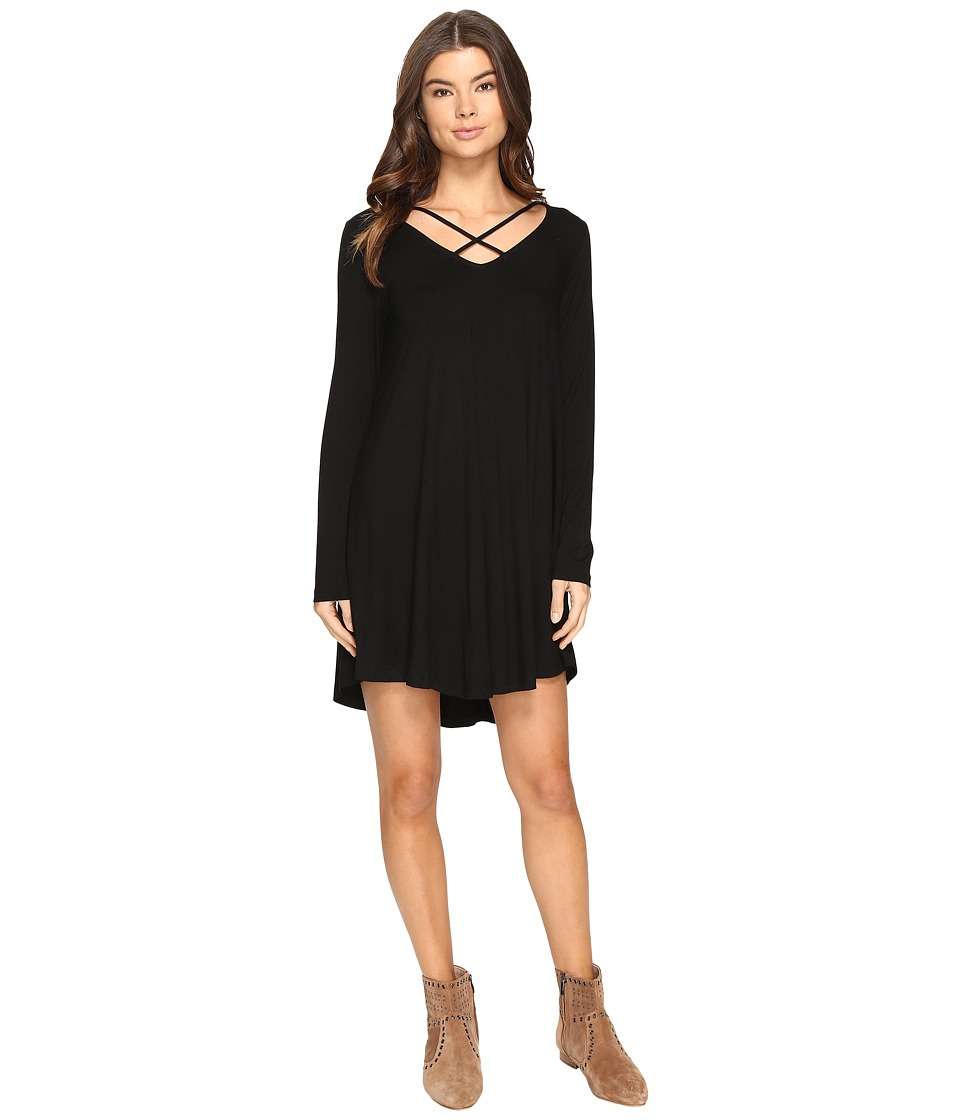 Culture Phit - Mille Long Sleeve Dress with Strap Detail (Black) Women's Dress