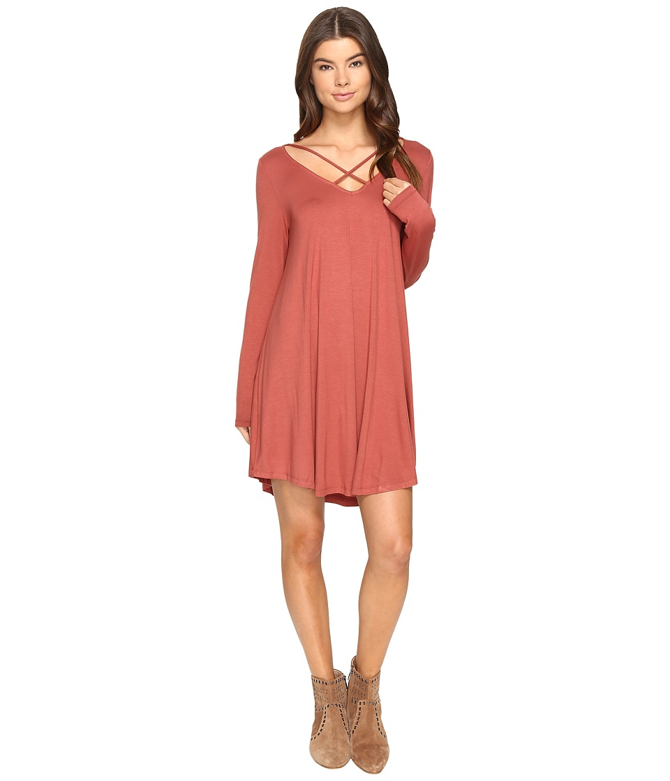 Culture Phit - Mille Long Sleeve Dress with Strap Detail (Brick) Women's Dress