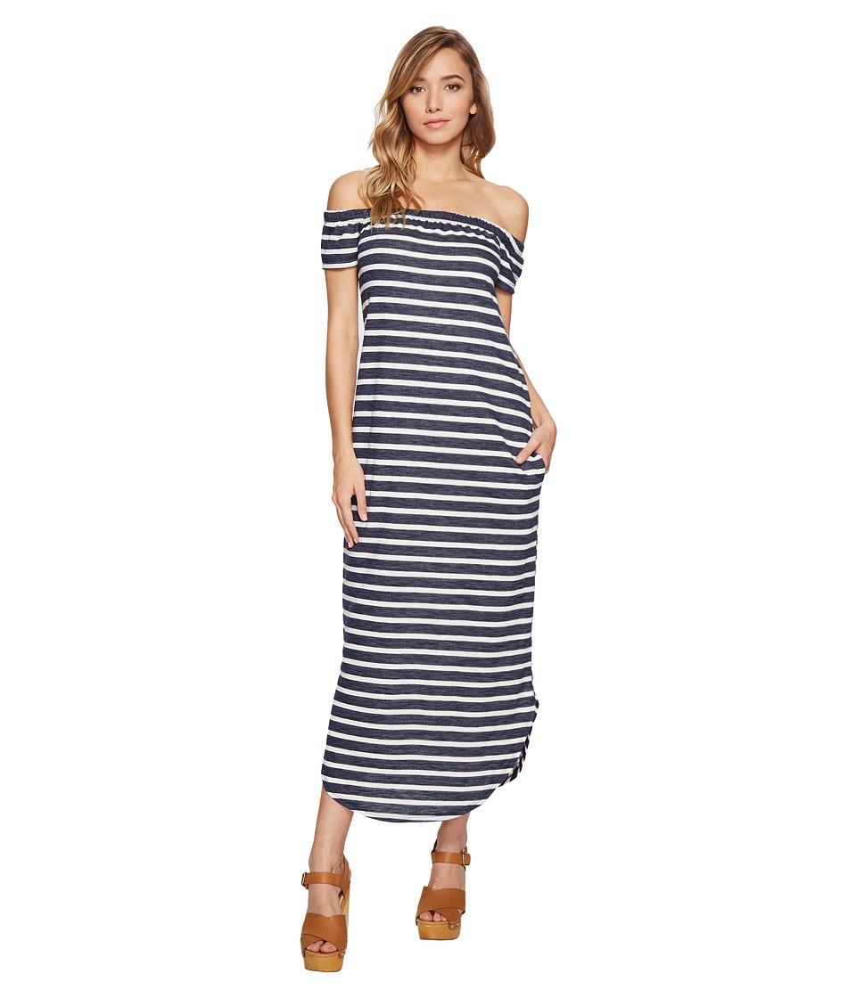 Culture Phit Joanne Off the Shoulder Striped Dress (Navy/Ivory) Women