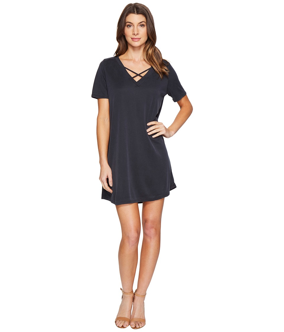 Culture Phit - Alma Short Sleeve Dress with Strap Detail (Black) Women's Dress