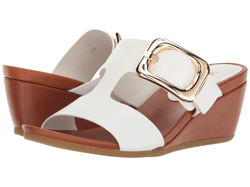 Vaneli - Danel (White Nappa/Tan Super Calf/Gold Buckle) Women's Wedge Shoes