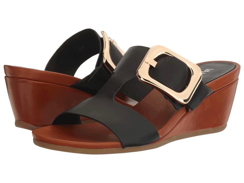 Vaneli - Danel (Black Nappa/Tan Super Calf/Gold Buckle) Women's Wedge Shoes