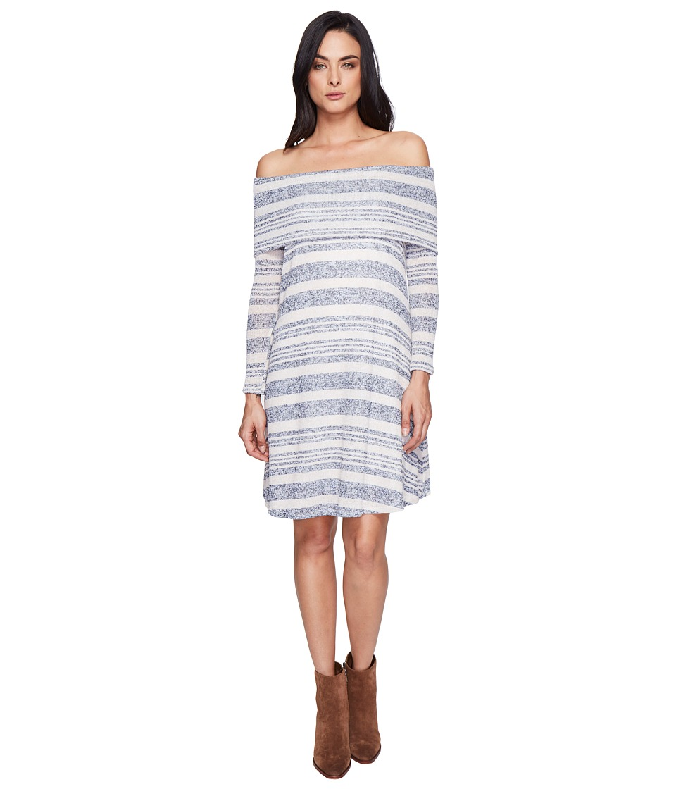 Culture Phit - Kalea Off the Shoulder Sweater Dress (Blue/Ivory) Women's Dress