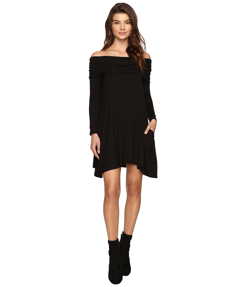 Culture Phit - Kellan Off the Shoulder Fold-Over Dress (Black) Women's Dress