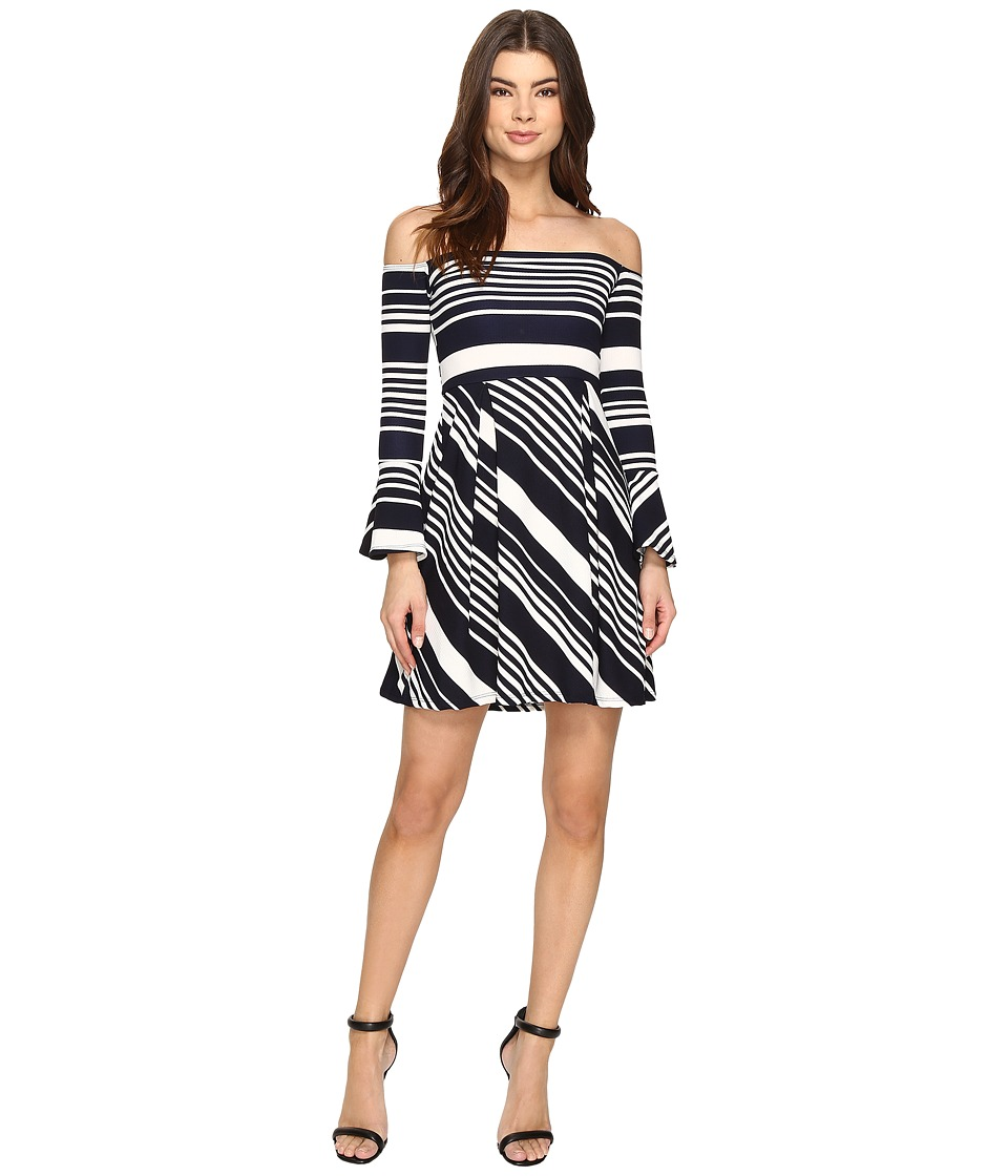 Christin Michaels - Yalena Off the Shoulder Bell Sleeve Dress (Navy/Ivory) Women's Dress
