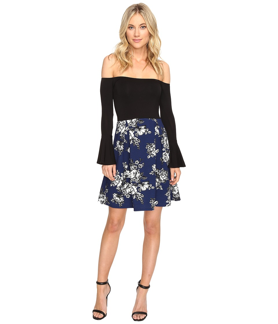 Christin Michaels - Yalena Off the Shoulder Bell Sleeve Dress (Black/Navy) Women's Dress