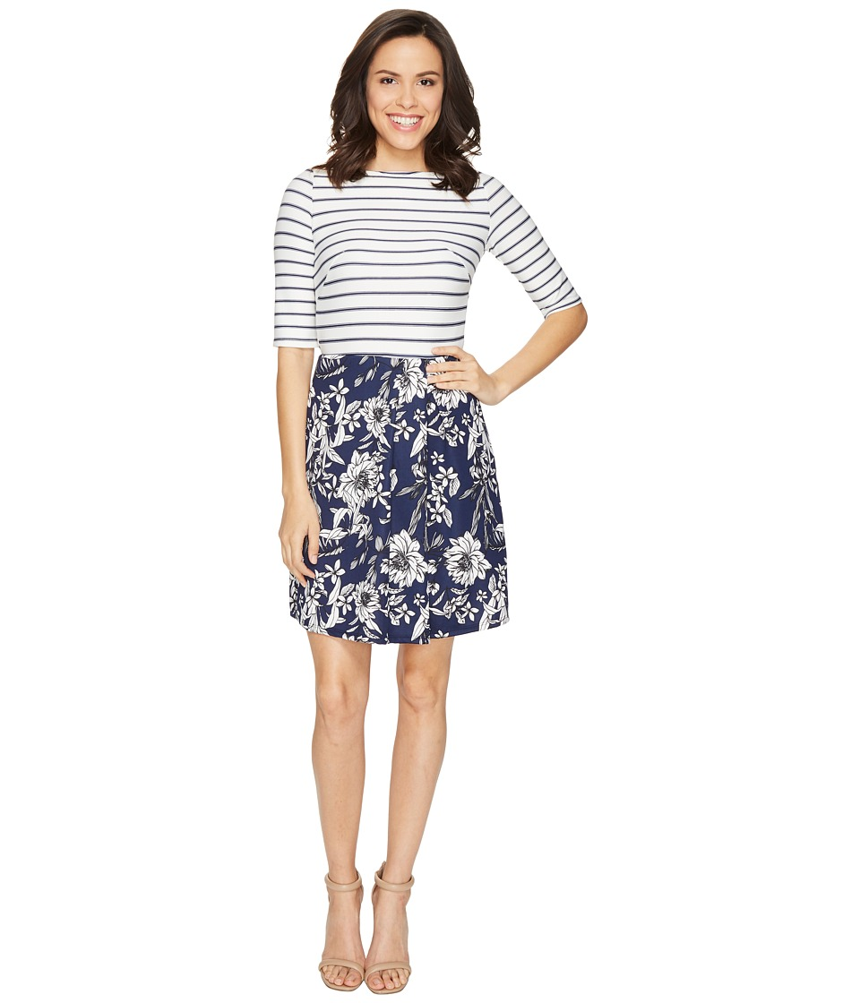 Christin Michaels - Anya 3/4 Sleeve Stripe Top Dress (Ivory/Navy) Women's Dress