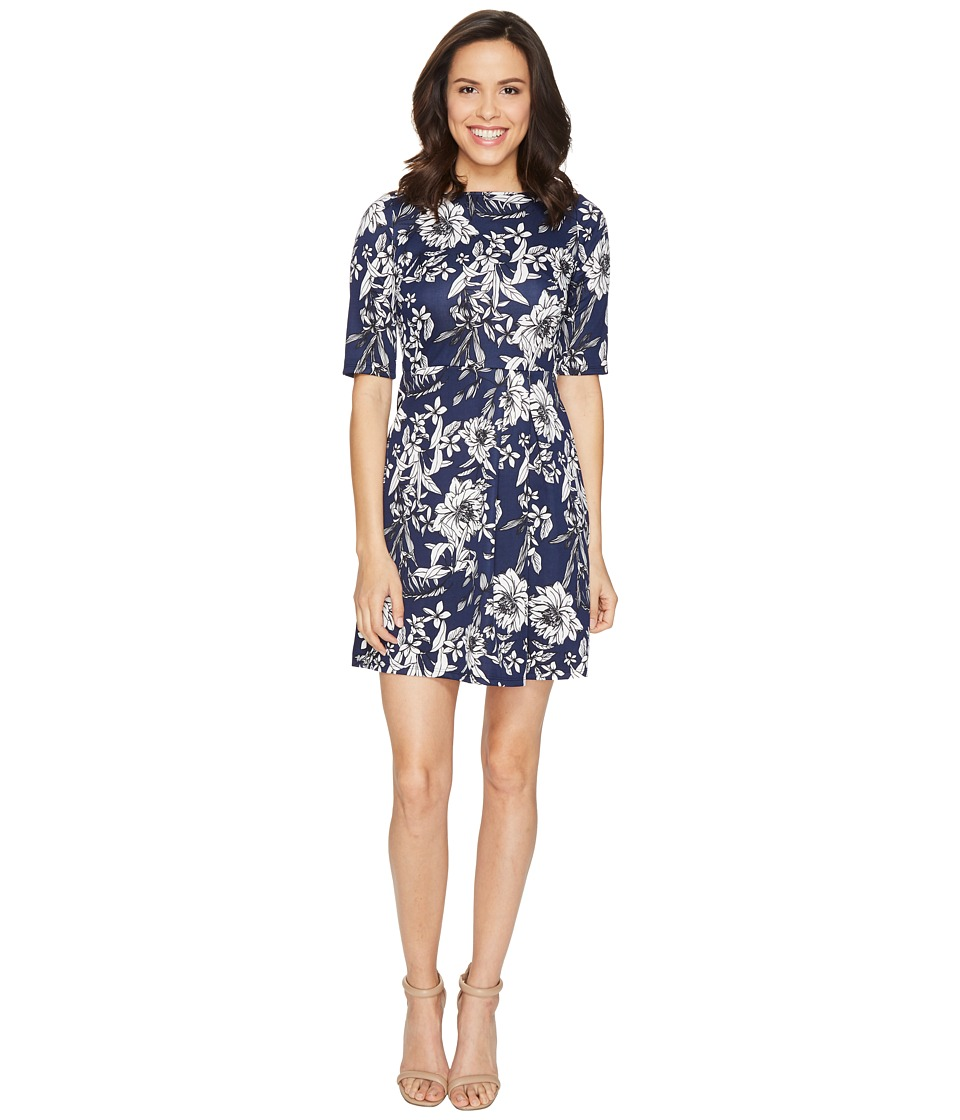 Christin Michaels Anya 3/4 Sleeve Dress (Navy) Women