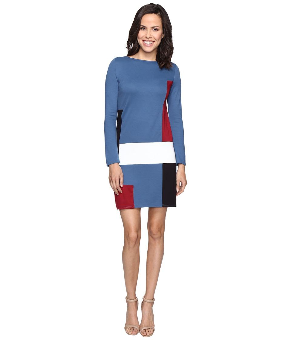 Christin Michaels Amae Long Sleeve Color Block Dress (Blue) Women