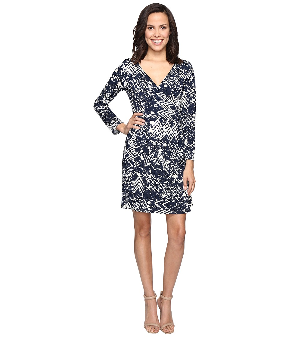 Christin Michaels - Rayna Long Sleeve Wrap Dress (Navy/Cream) Women's Dress