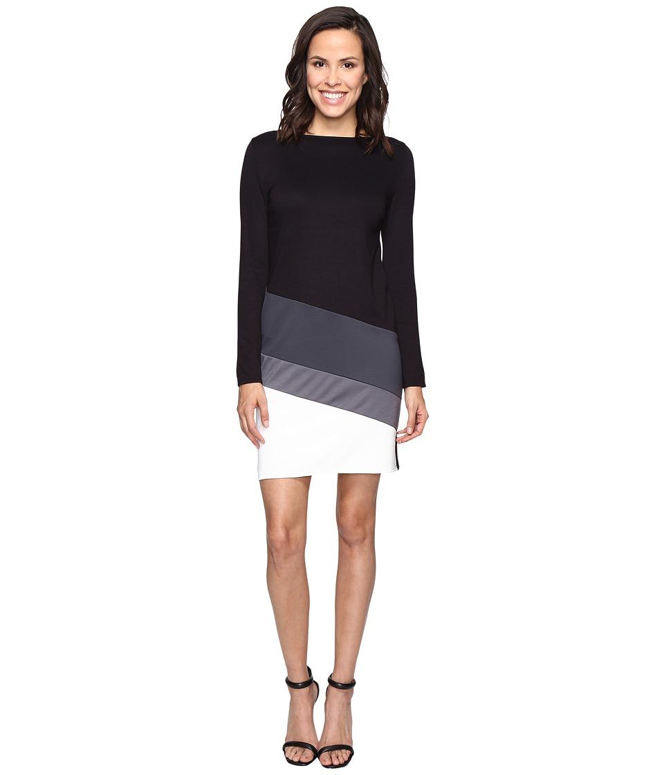 Christin Michaels Caprice Long Sleeve Color Block Dress (Black) Women