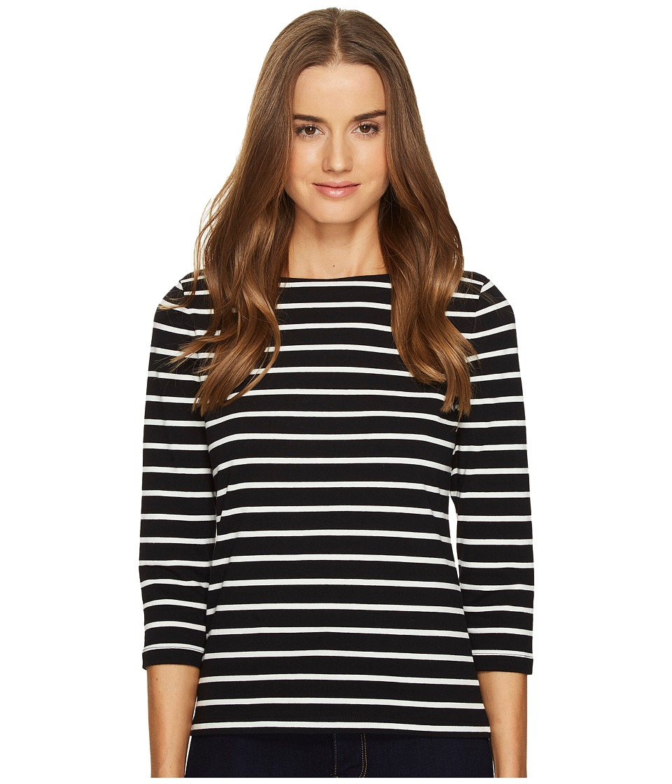 Kate Spade New York - Broome Street 3/4 Sleeve Stripe Essential Tee (Black/Off-White) Women's T Shirt