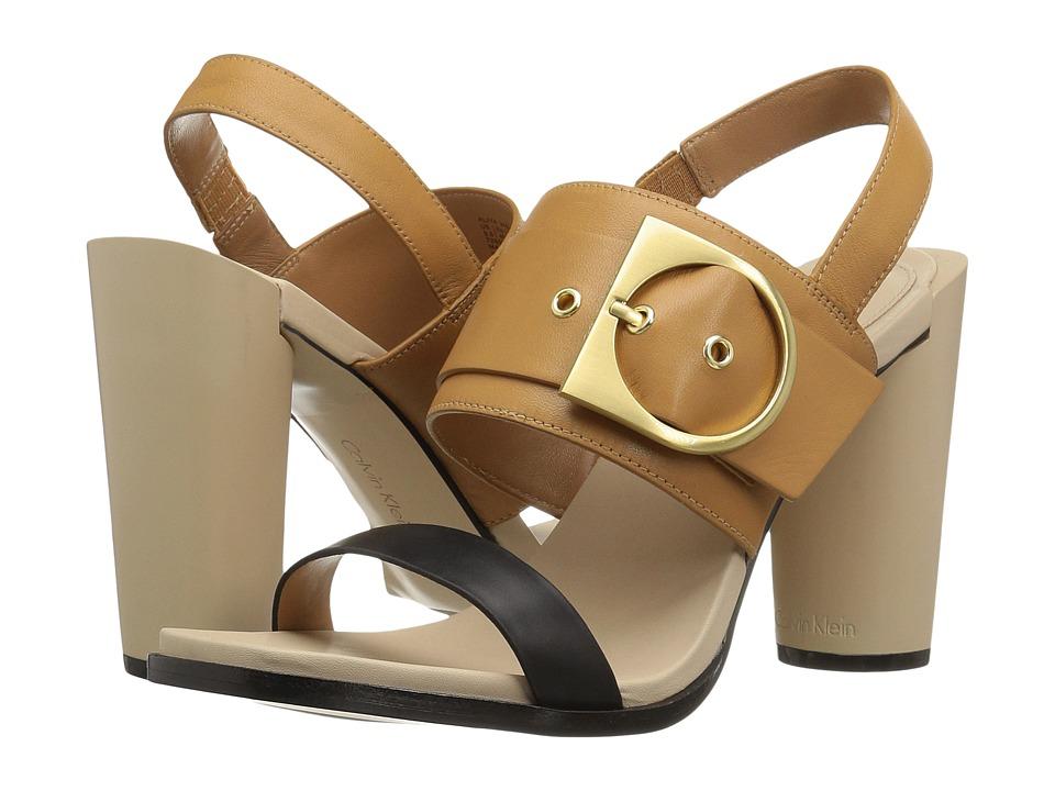 Calvin Klein Aliya (Black/Almond Tan Leather) Women