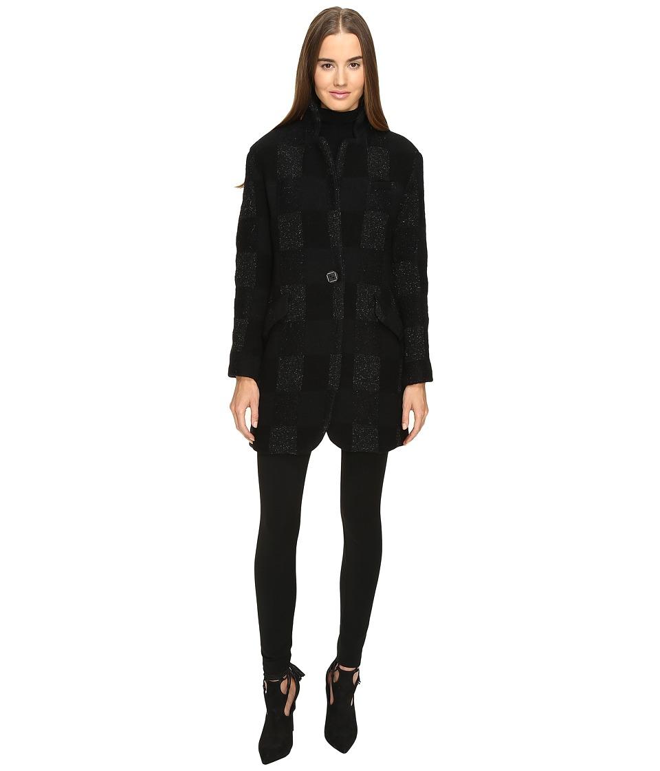 Manila Grace - Plaid Coat (Grey) Women's Coat