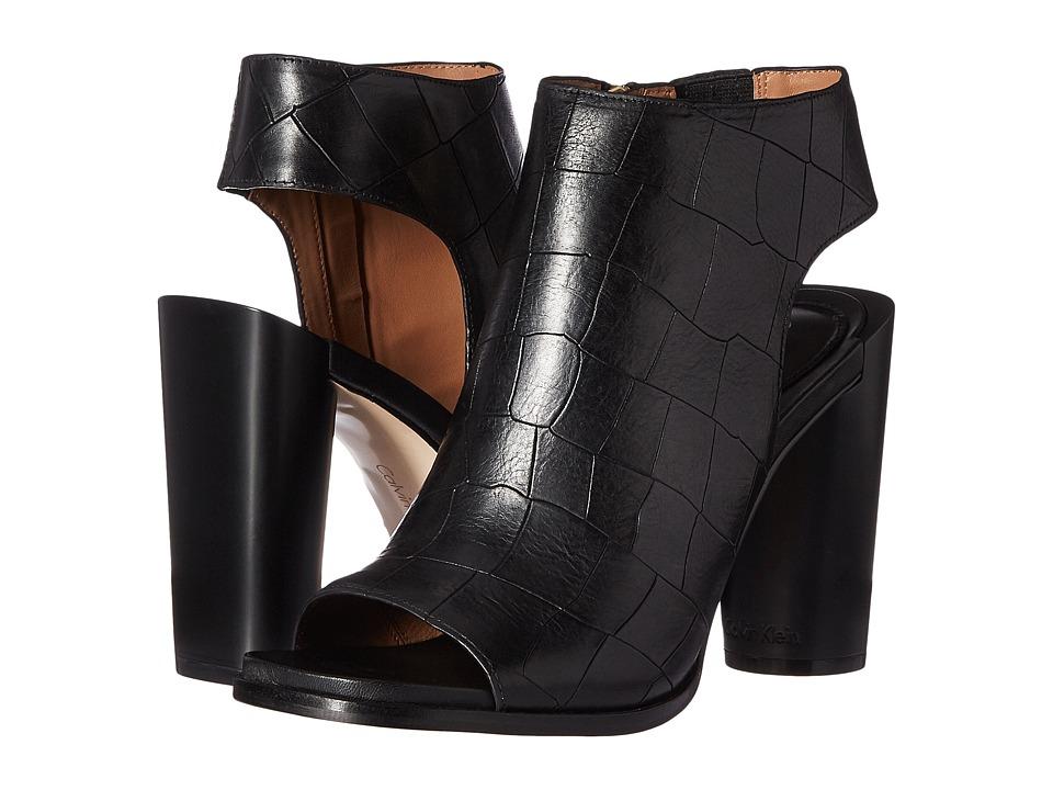 Calvin Klein Amari (Black Croc Embossed Leather) Women