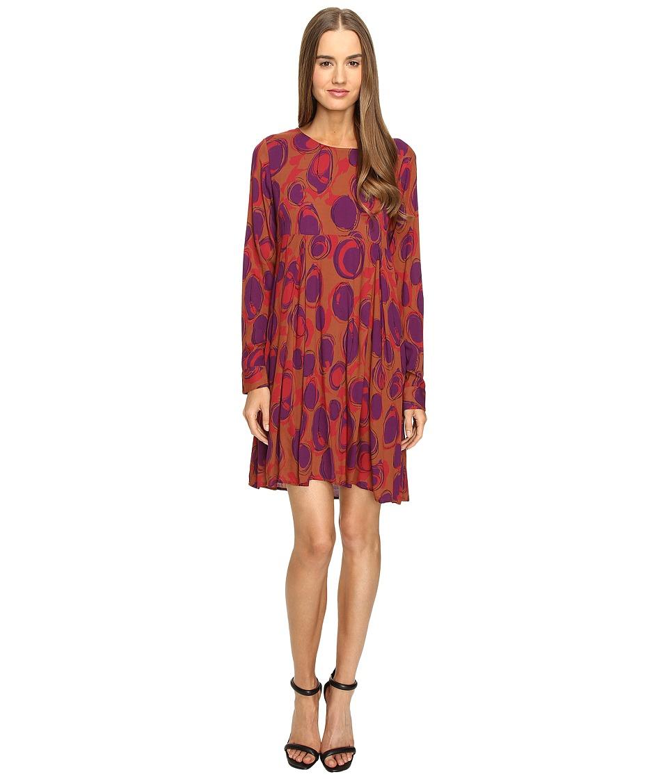 Manila Grace - Printed Long Sleeve Dress (Red/Fuchsia) Women's Dress