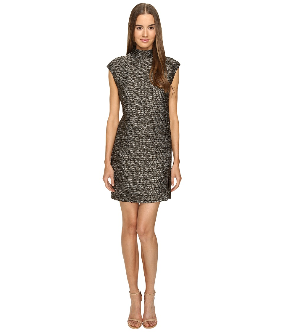 Manila Grace - Mock Neck Dress (Brown Mix) Women's Dress