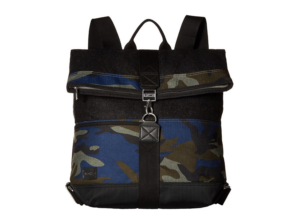 TOMS - Olive Camo Herringbone Backpack (Black) Backpack Bags
