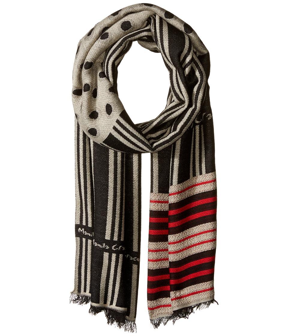Manila Grace - Printed Scarf (Navy/Beige) Scarves