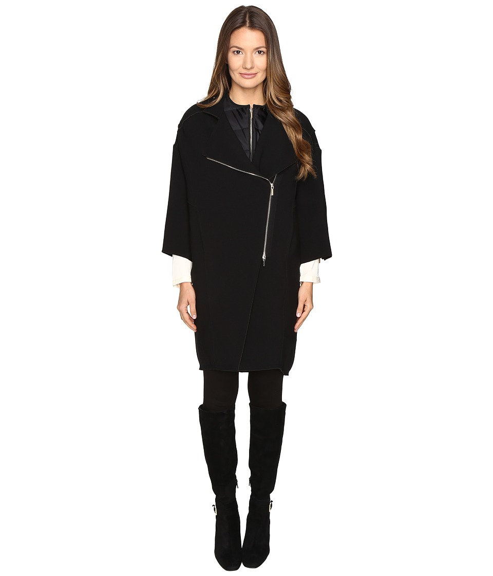 Manila Grace - Zip Lapel Coat (Black) Women's Coat