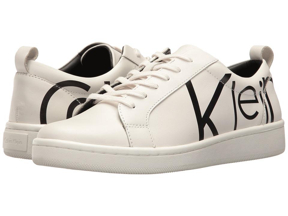Calvin Klein - Danya (White/Black Logo Print Leather) Women's Shoes