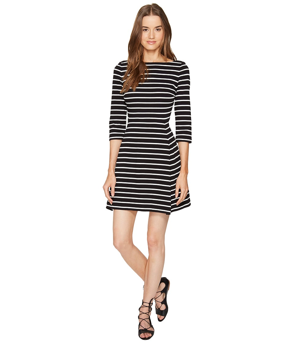 Kate Spade New York - Broome Street Stripe Essential Dress (Black/Off-White) Women's Dress