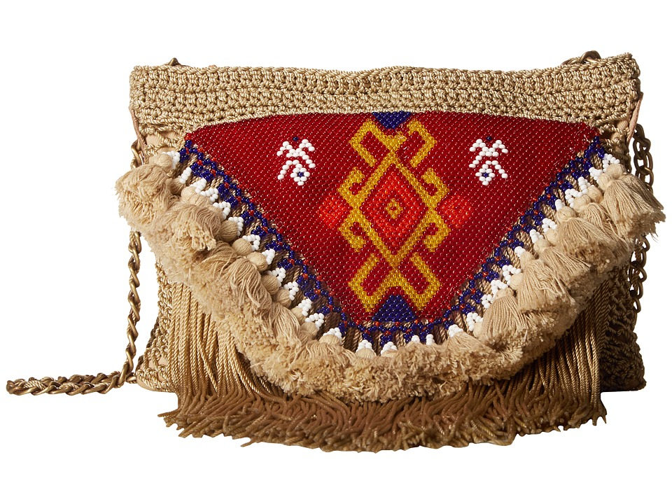 Sam Edelman - Naomi Beaded Crossbody with Chain (Natural) Cross Body Handbags