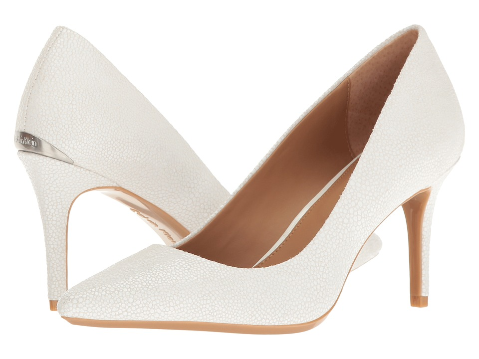 Calvin Klein - Gayle (Platinum White Stingray Print Leather) High Heels