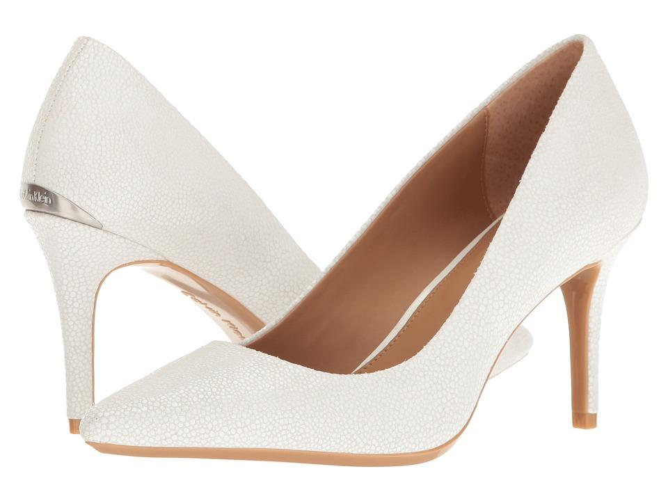 Calvin Klein - Gayle (Platinum White Stingray Print Leather) High Heels
