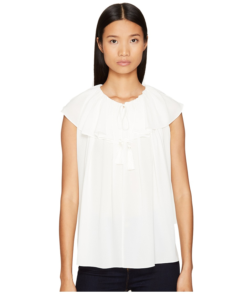 Kate Spade New York - Rambling Roses Tie Neck Silk Top (Cream) Women's Clothing