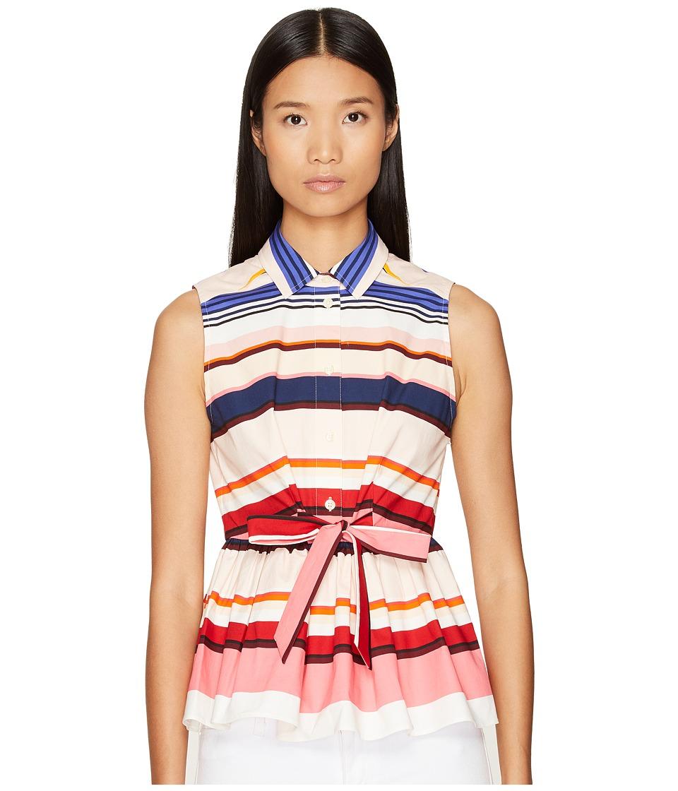 Kate Spade New York - Spice Things Up Berber Stripe Peplum Top (Multi) Women's Clothing