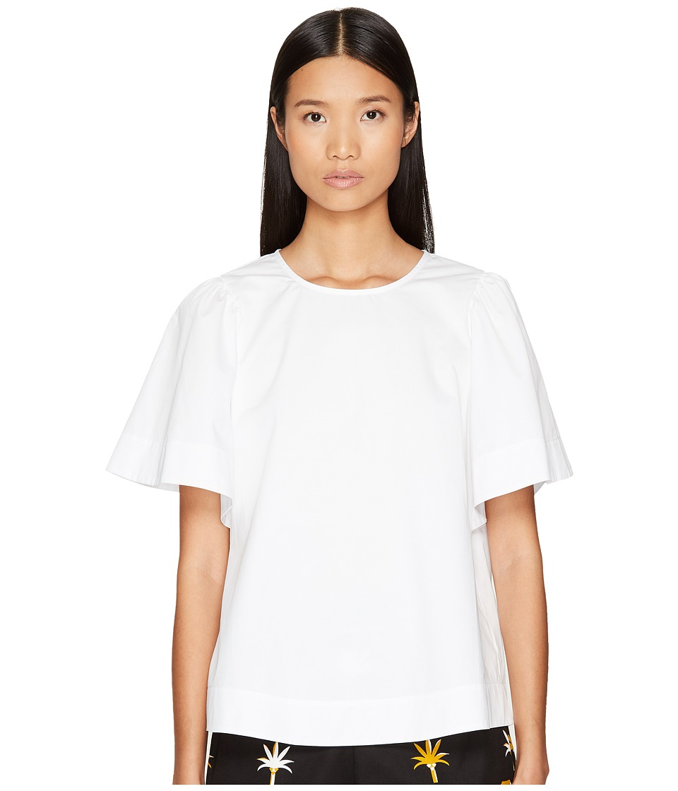 Kate Spade New York - Broome Street Flutter Sleeve Top (Fresh White) Women's Clothing