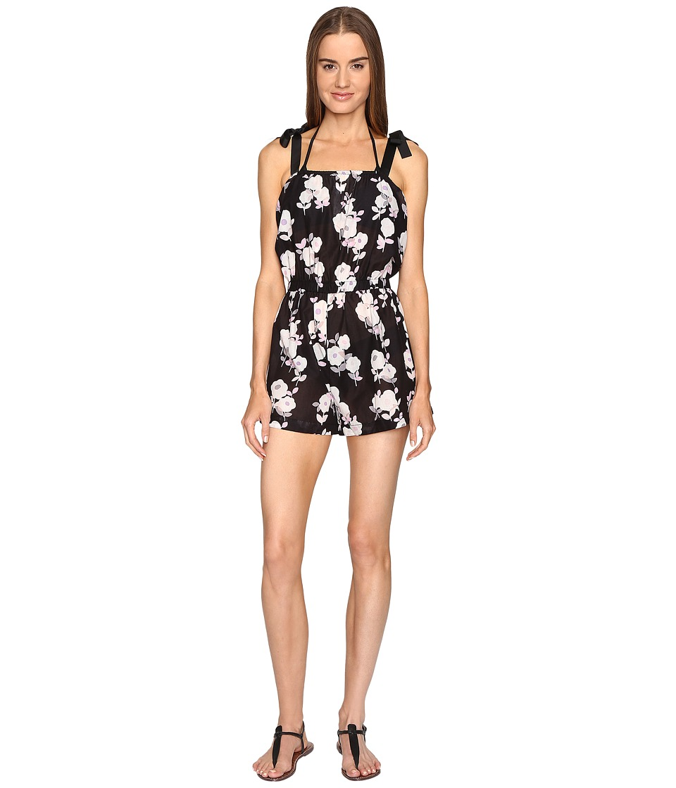 Kate Spade New York - Posey Grove Tie Shoulder Romper Cover-Up (Black) Women's Jumpsuit & Rompers One Piece