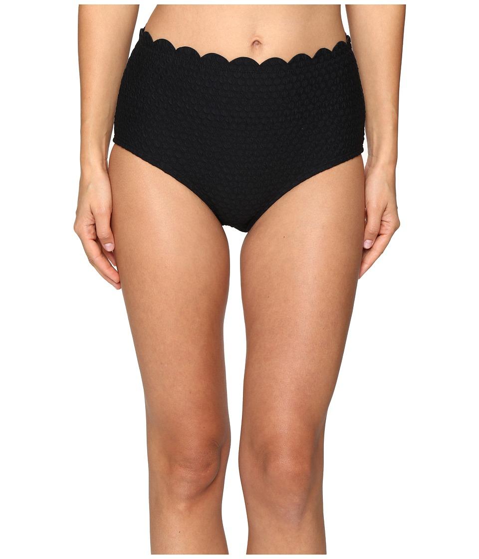 Kate Spade New York - Marina Piccola Scalloped High Waist Bikini Bottom (Black) Women's Swimwear