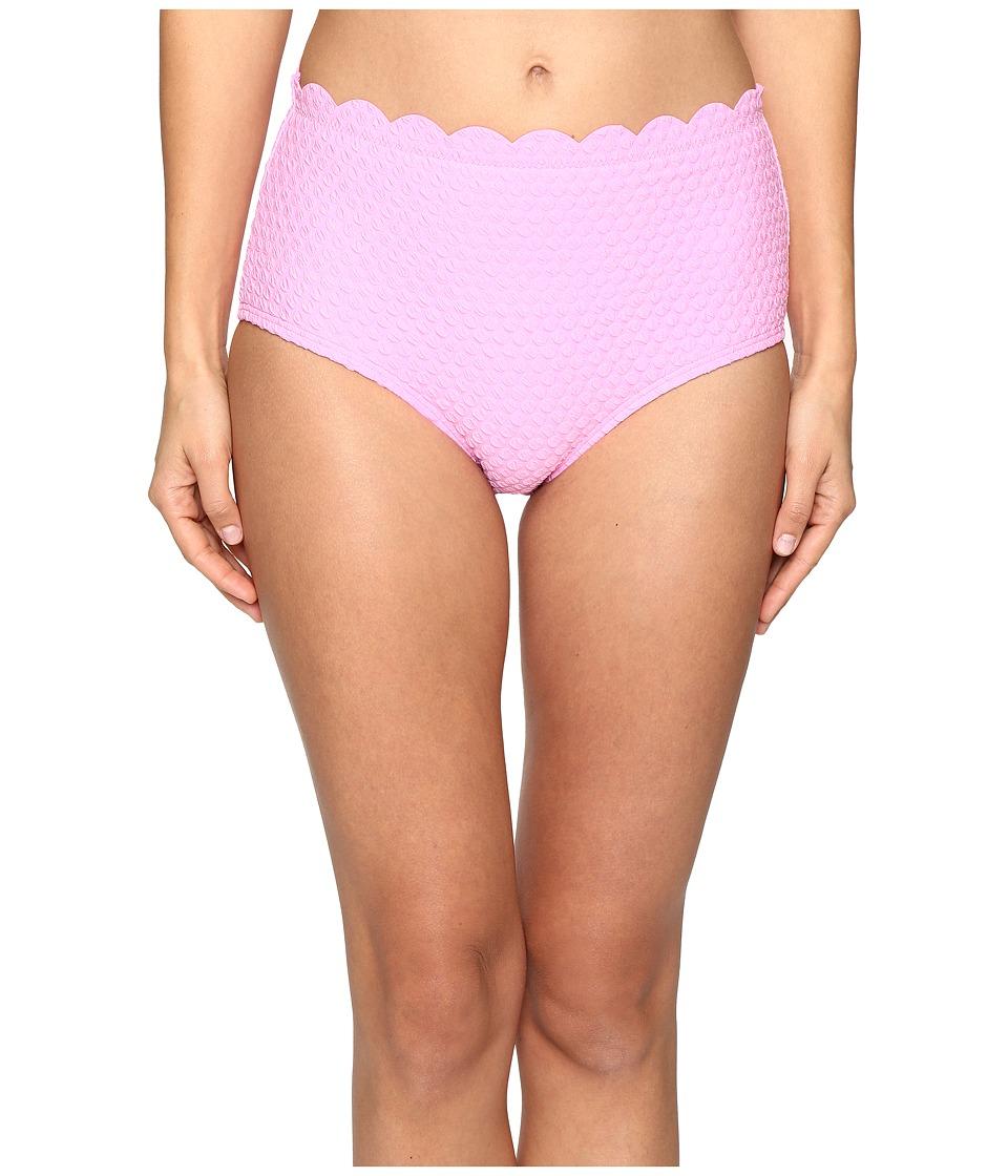 Kate Spade New York - Marina Piccola Scalloped High Waist Bikini Bottom (Teatime Pink) Women's Swimwear