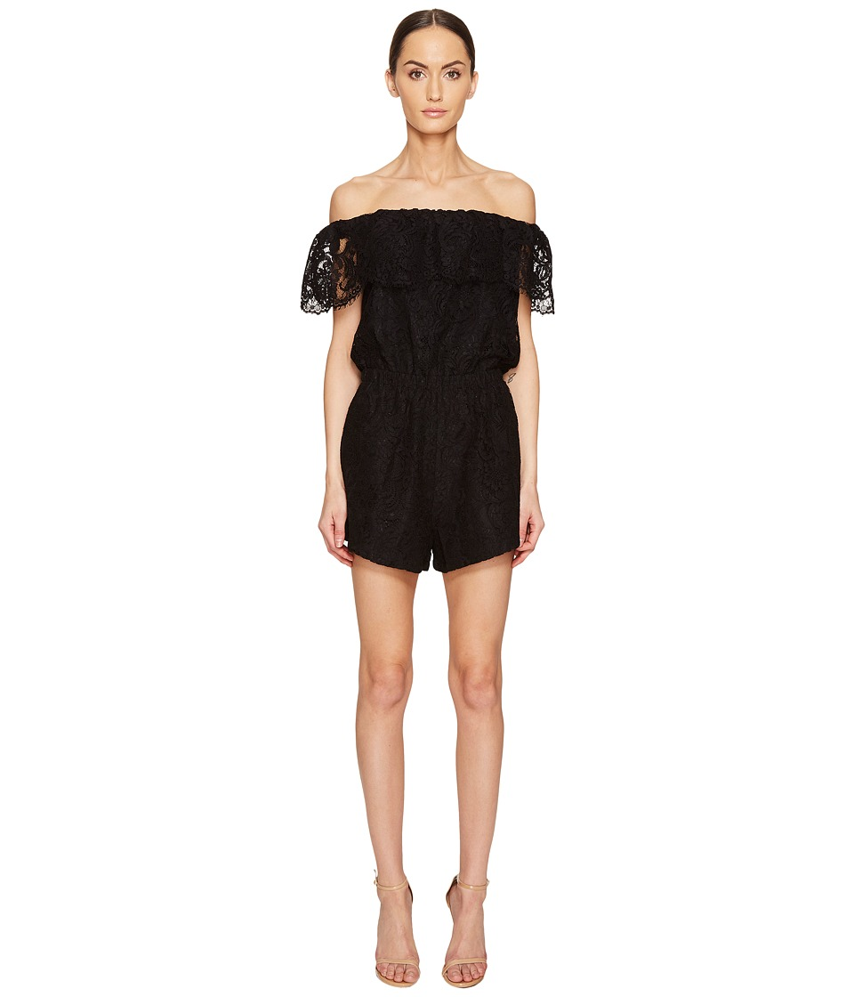 LAMARQUE - Sina Lace Off the Shoulder Romper (Black) Women's Jumpsuit & Rompers One Piece