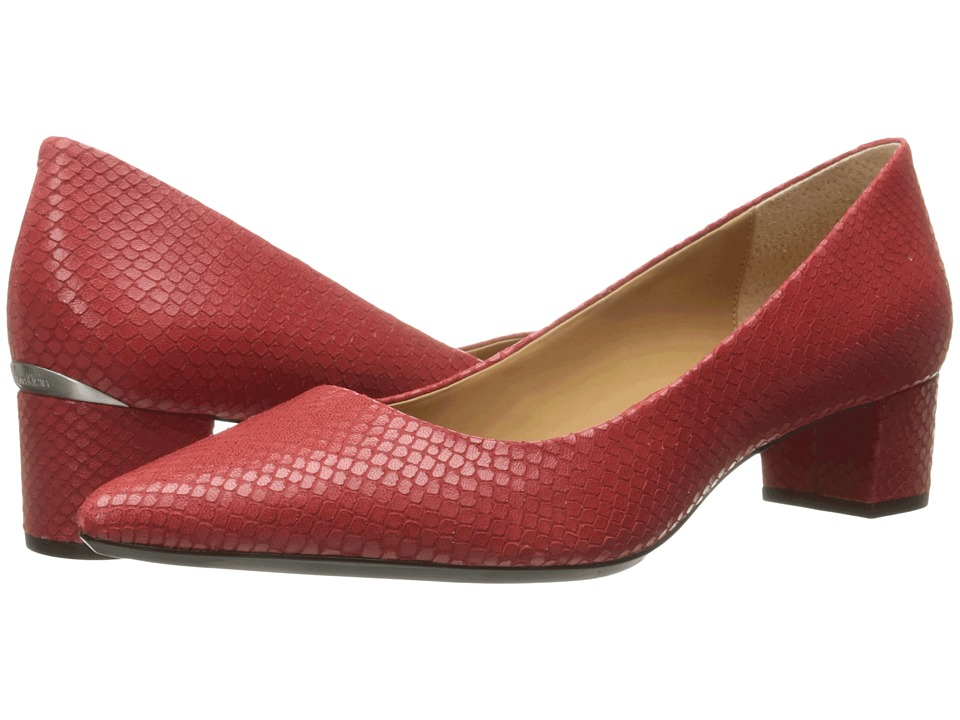 Calvin Klein - Genoveva (Lipstick Red Snake Print Leather) Women's Shoes