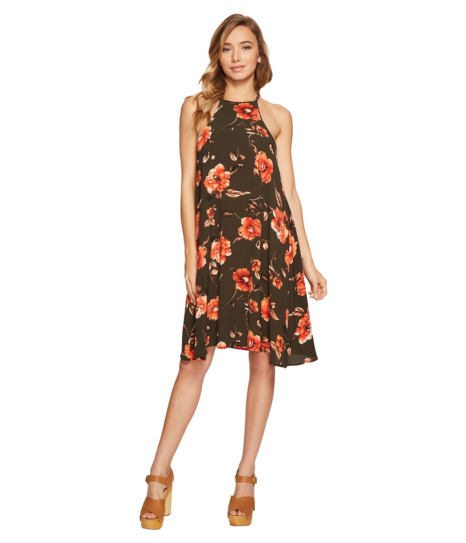Brigitte Bailey - Carey High Neck Spaghetti Strap Dress (Olive/Coral) Women's Dress