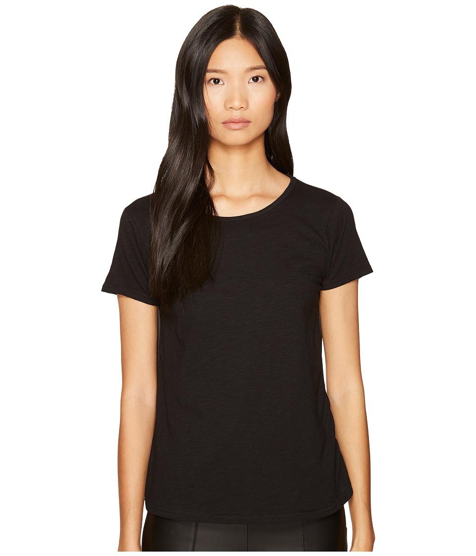 LAMARQUE - Carlisa Jersey Chiffon Slit Back Tee (Black) Women's T Shirt