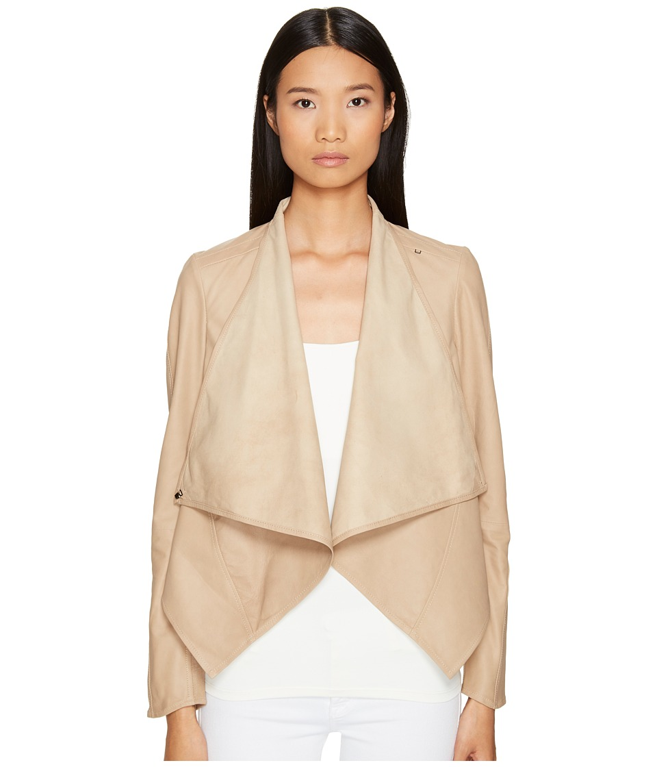 LAMARQUE - Madison Leather Asymmetric Jacket (Sandstone) Women's Coat