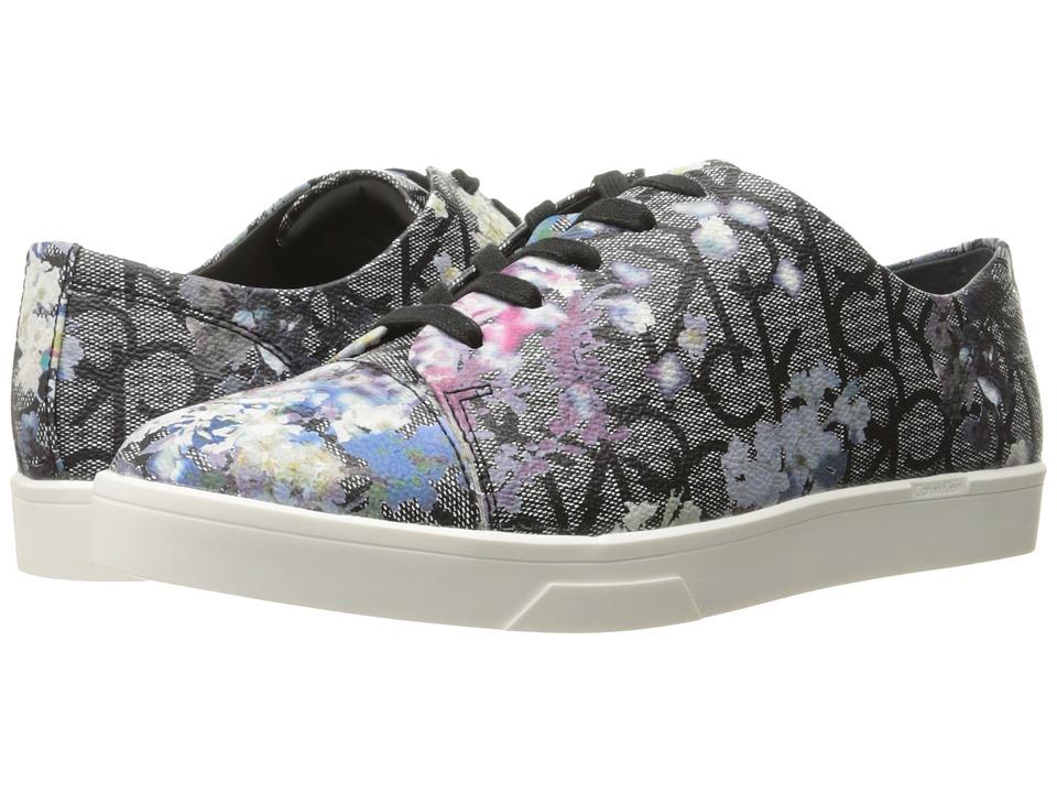 Calvin Klein - Imilia (Black Flower Logo Leather) Women's Shoes
