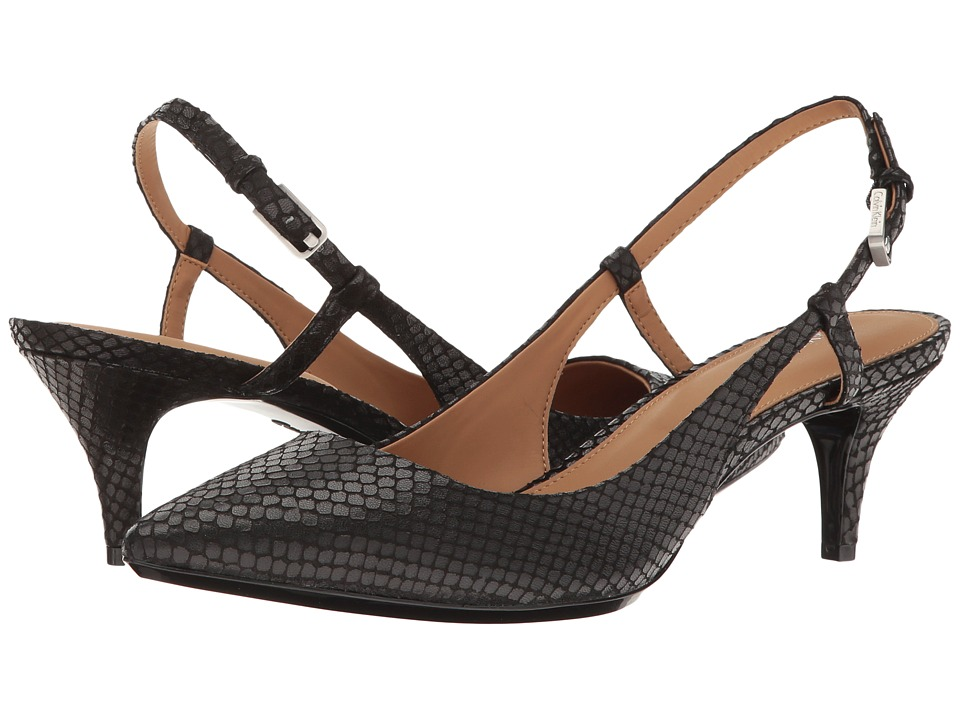 Calvin Klein - Patsi (Black Snake Print Leather) High Heels