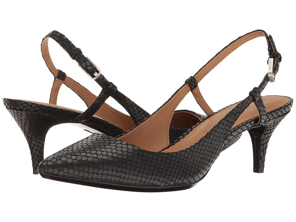 Calvin Klein - Patsi (Black Snake Print Leather) High Heels