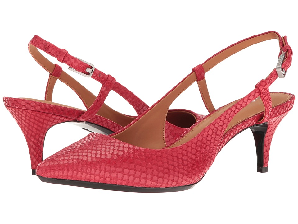 Calvin Klein - Patsi (Lipstick Red Snake Print Leather) High Heels
