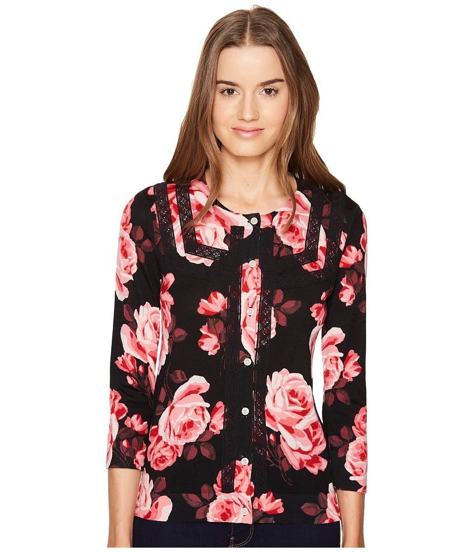 Kate Spade New York - Rambling Roses Rosa Lace Trim Cardigan (Black Multi) Women's Sweater